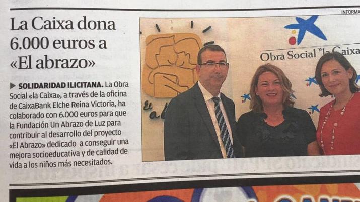 La Caixa dona 6.000 euros a «El abrazo»