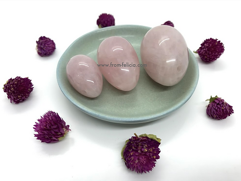 Rose Quartz Yoni Egg Set (small, medium & large)