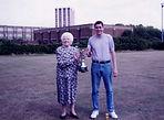 Mrs Skidmore presenting the last winner (Liam Bench) of the Reg Skidmore Cup
