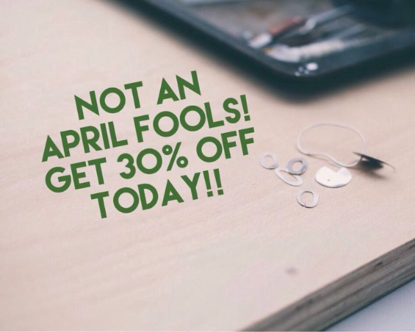 Not an April Fools. Get 30% off any purchase of Lennie Beare's handmade jewellery today!