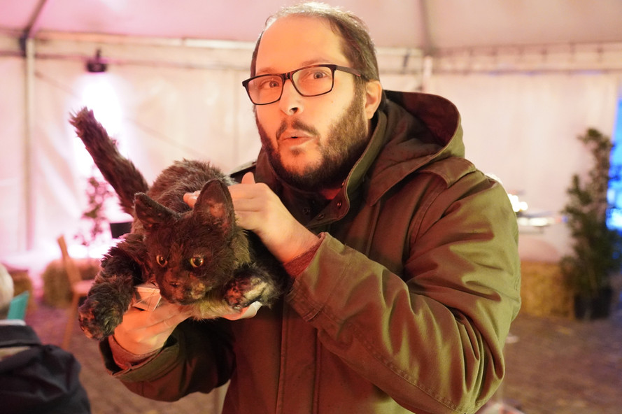 Filmregisseur mit Katze Aaretaler Kurzfilmtage