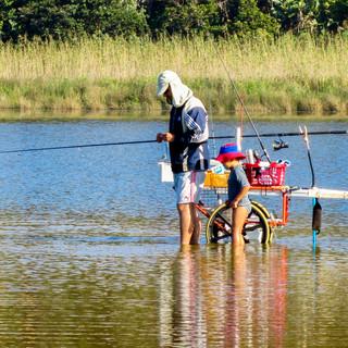 Shrimp hunting at Chintsa lagoon