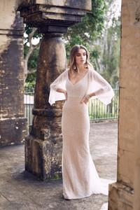 Anna Campbell Style #WANDAFITDR HAND BEADED V-NECK DRAPED SLEEVE SHEATH WEDDING DRESS