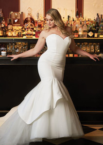 Justin Alexander Satin Mermaid Wedding Dress Accented with Apron Tulle and Organza Skirt STYLE 8933