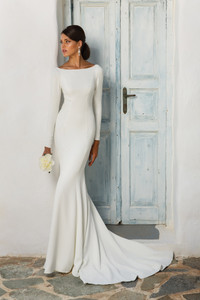 Justin Alexander Crepe Long Sleeve Wedding Dress with Beaded Illusion Back STYLE 8936