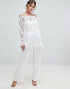 Lioness off the shoulder lace top with wide leg