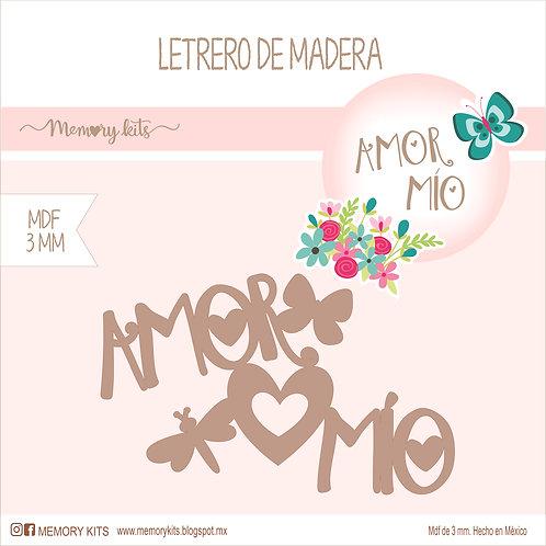 Letrero de madera Amor mío