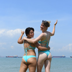 Showing off their matching Haikini!