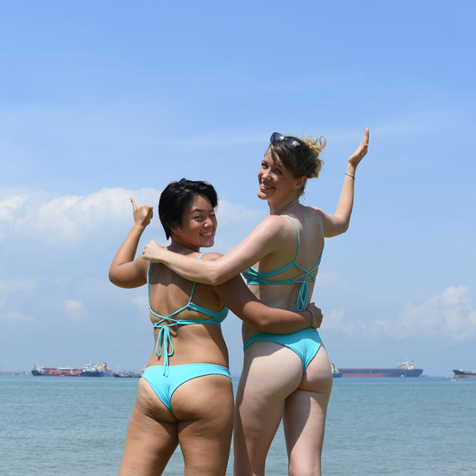 Showing off their matching Haikini!