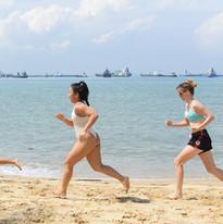 Sprint drills on the beach