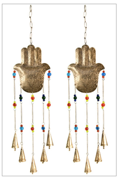 Hamsa Hand Chime With Bells & Beads