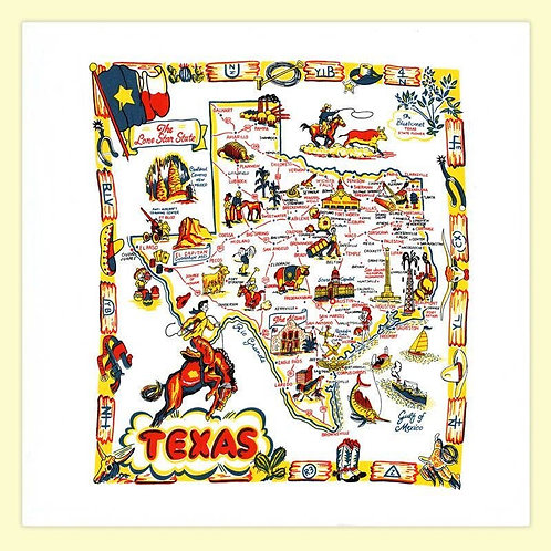 Texas Map Flour Sack Towel