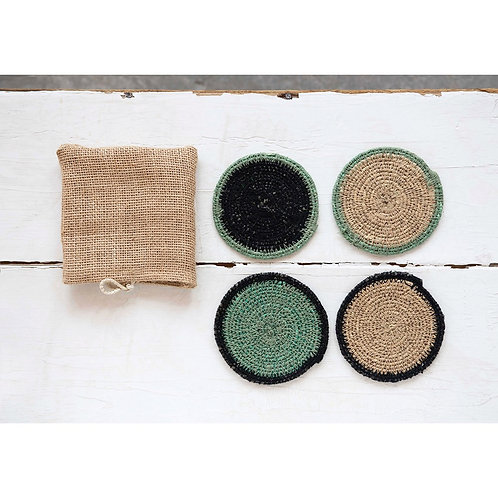 Hand-Woven Set of Seagrass Coasters