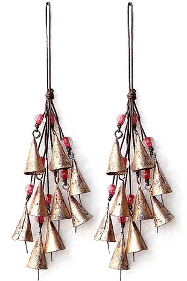 "Bells Bunch on Cord with Beads - 12"" LONG"
