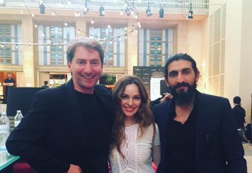 "Schmerbeck next to actors Mina Tander (""Berlin Station"") and Numan Acar (""Homeland"")"