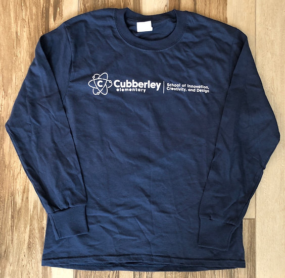 Adult - Navy Long Sleeve T-Shirt (design on front & back...paw print on back)