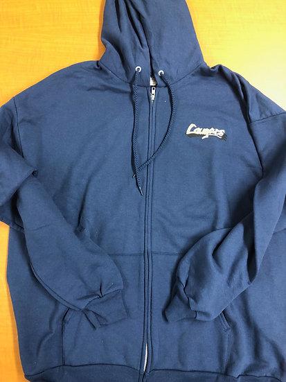 Adult - Zip-Up Navy Hoodie with Legacy Cougar