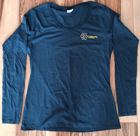 Adult - Ladies V-Neck Long Sleeve (Cubberley on front & cougar paw on back)