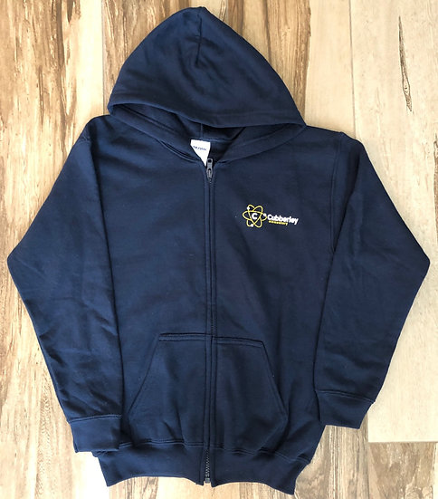 Adult - Navy Blue Zip-Up Hoodie (with new design on front & back