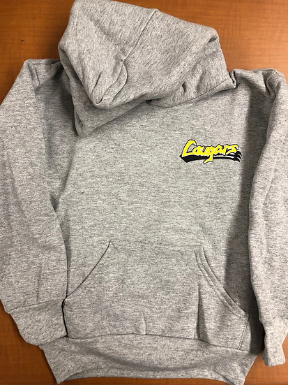Adult - Grey Hoodie Pullover - Legacy Cougar (design on front & back)