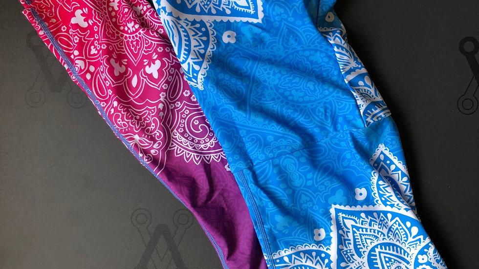 Mandala print yoga posing suit blue and pink