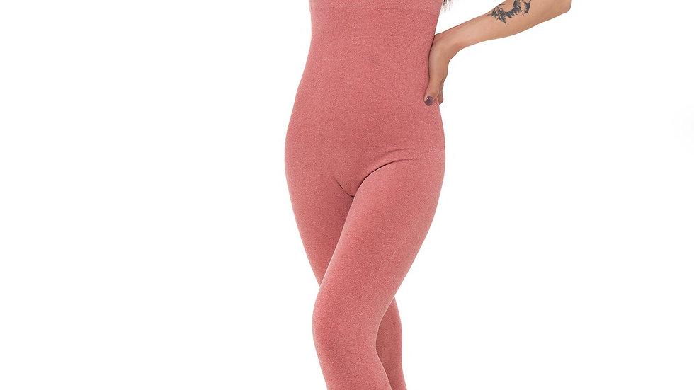 Seamless Red Yoga Posing Jumpsuit