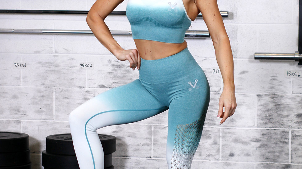 Sovereign Heather Green Ombré seamless leggings and bra set