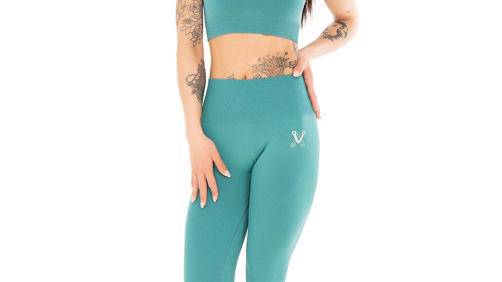 Classic Moss Green seamless leggings & bra set