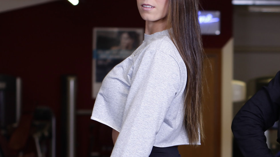 Cropped  Jumper Top Grey