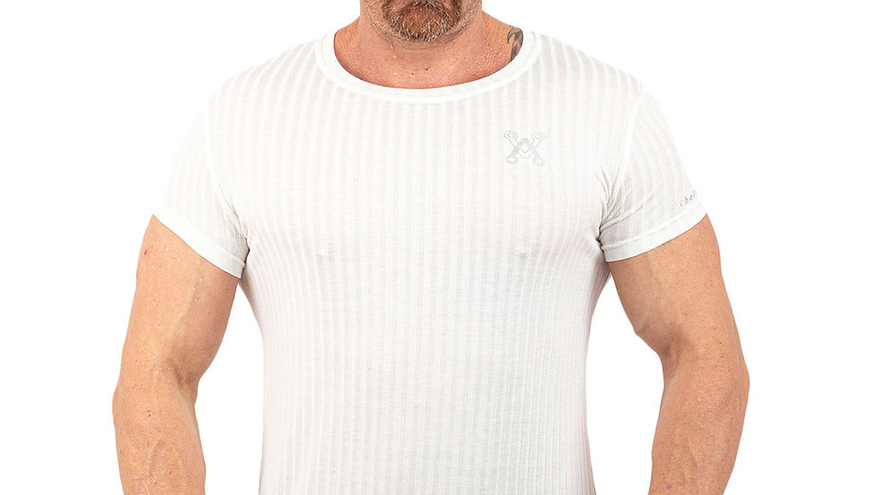 Ribbed Cream Muscle fitted T shirt