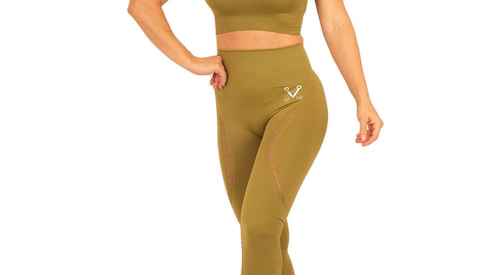 Aphrodite Khaki seamless leggings & bra set