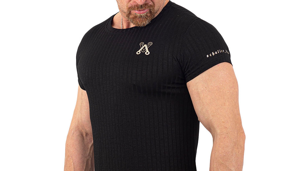 Ribbed Black Muscle fitted T shirt