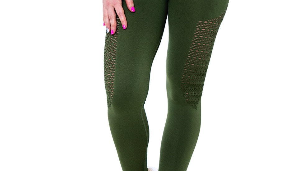 Bootalicious Khaki seamless scrunch bum leggings