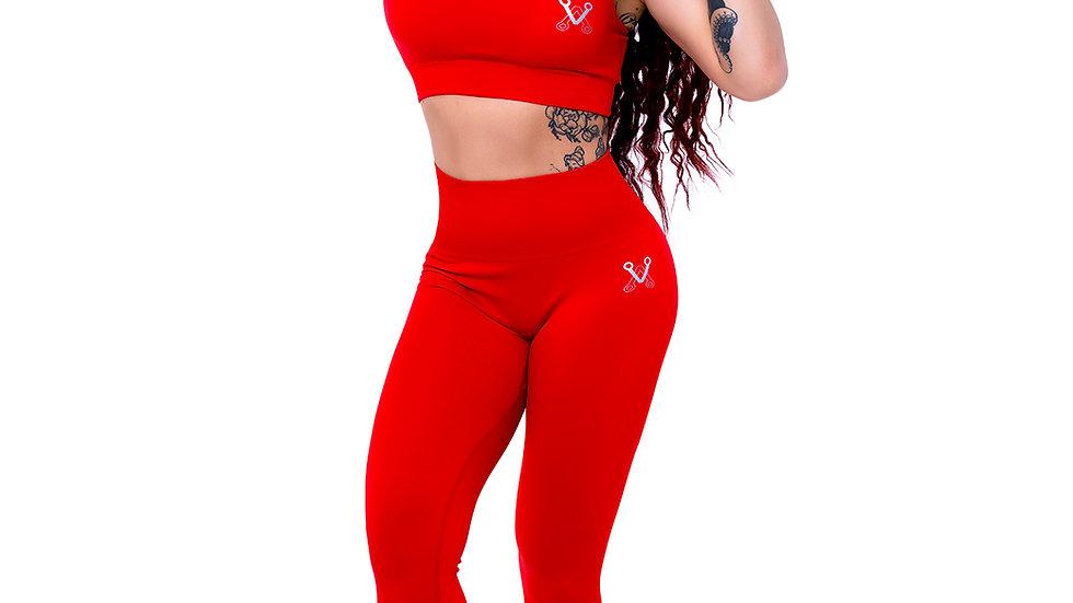 Classic Red seamless leggings & bra set