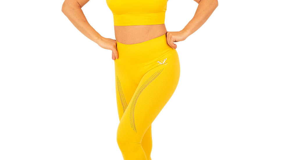 Aphrodite Yellow seamless leggings & bra set