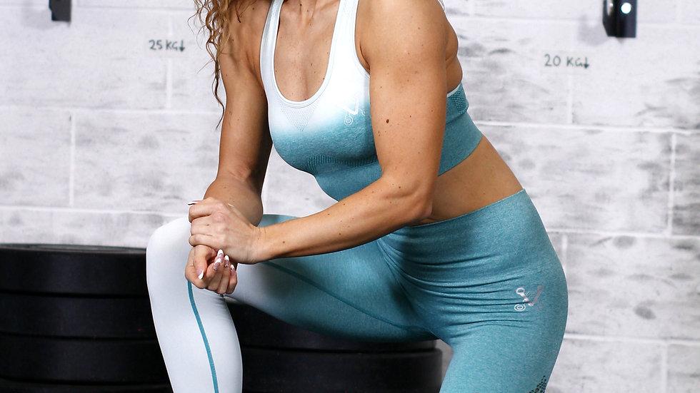 Sovereign Heather Green Ombré seamless scrunch bottom leggings