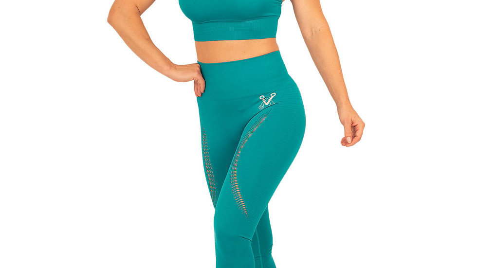 Aphrodite Teal seamless leggings & bra set