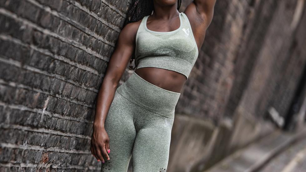 Sovereign Khaki Ombré seamless leggings & bra set