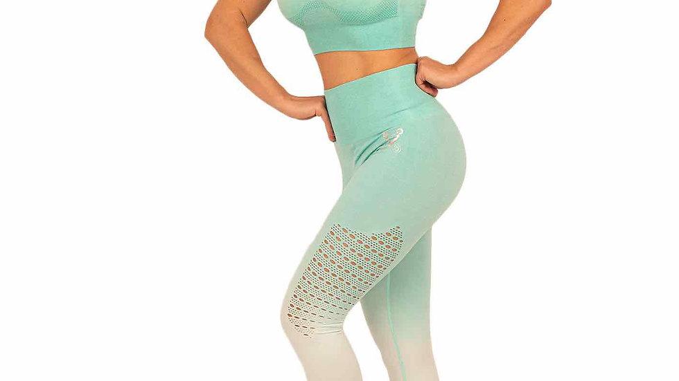 Sovereign Spearmint Ombré seamless leggings & bra set