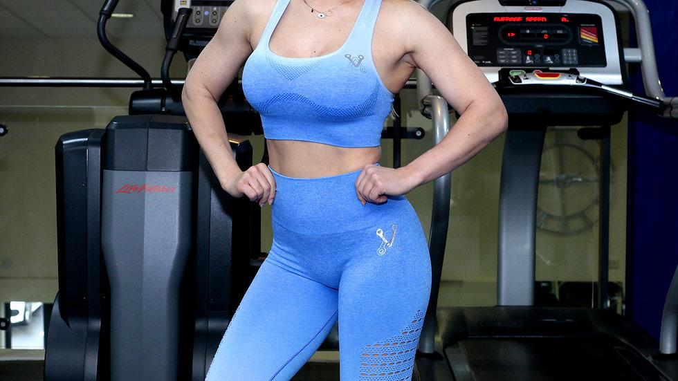 Sovereign Blue Ombré seamless leggings & bra set