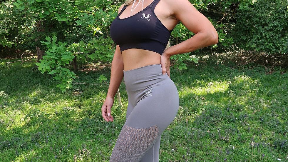 Bootalicious Grey seamless Scrunch bum leggings
