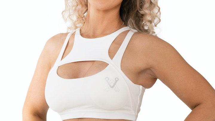 Boobalicious WhiteCross Front Detailsports bra