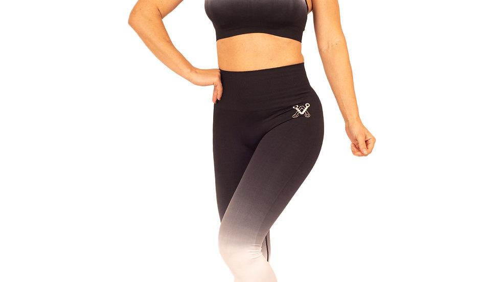 Regal Black seamless scrunch bum leggings & bra set