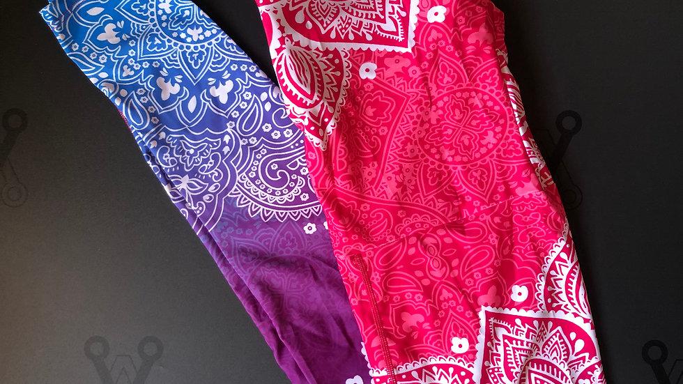 Mandala print yoga posing suit pink and blue