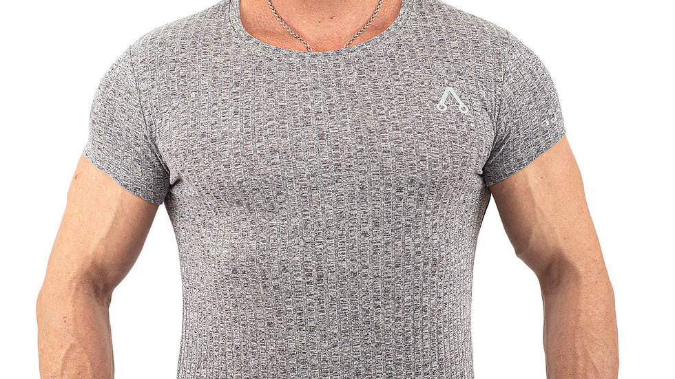Ribbed Grey Muscle fitted T shirt