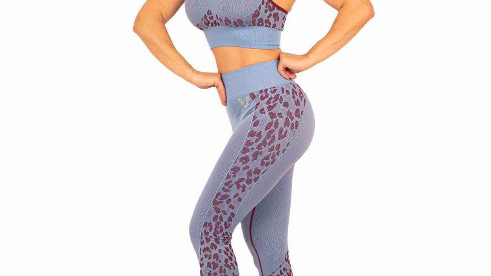 Huntress Blue and Maroon seamless scrunch bum leggings