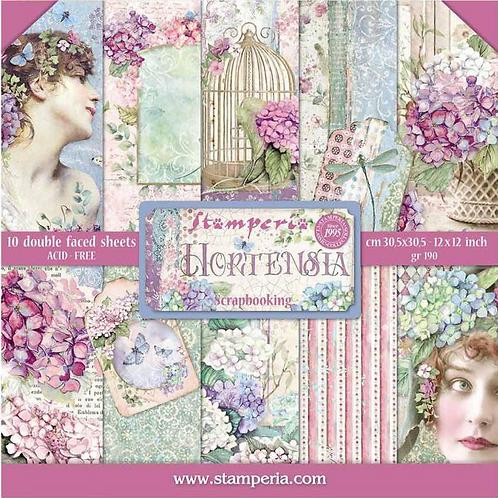 New Stamperia Hortensia Scrapbook Paper Pad 12 X 12