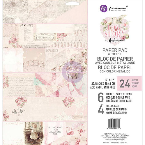 Prima Marketing Love Story   12×12 Paper Pad