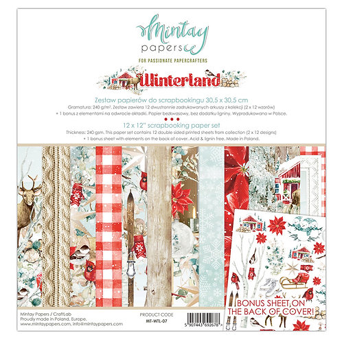 Mintay Winterland 12 X 12 paper collection