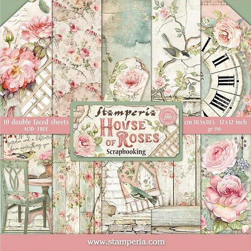 Stamperia House of Roses Scrapbook Paper Pad 12x12 - Flower Paper - Cardstock